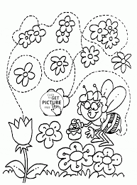 funny bee and flowers spring coloring page for kids seasons