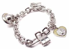 white gold bracelet with charms images Louis vuitton charm link white gold bracelet with charms at 1stdibs jpg