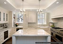White Kitchen Tile Backsplash White Kitchen With Calacatta Gold Backsplash Tile Backsplash