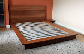 custom platform bed with integrated night stand solid cherry by
