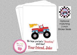 monster truck invitation monster truck party favor bags goody bags candy bag