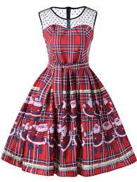 christmas santa claus sheer swing dress red xl in vintage