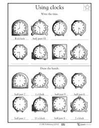 time practice worksheets first grade and clock