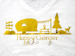 Retro Camper Happy Camper Tee The Scrap Shoppe