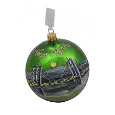 nyc bridge taxi green glass ornament