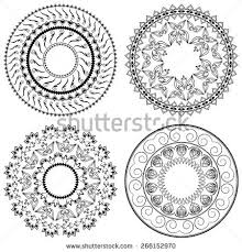 set vector stencils four ornament stock vector 266152973