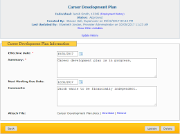 career development plans employment services and supports