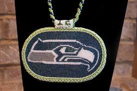 beaded medallion necklace images Beaded seattle seahawks rosette medallion by amaysingbeads on zibbet jpg