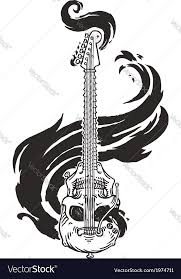 flaming guitar skull royalty free vector image
