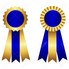 blue and gold ribbon award ribbon rosette st with ribbon in blue and gold isolated