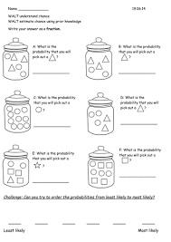 year 2 probability chance worksheets by rebeccaremnant teaching