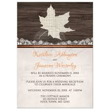 wedding reception program sle only invitations rustic autumn wood leaf orange