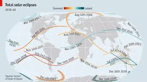World Wide Map Map Of Upcoming Solar Eclipses World Wide Source The Economist