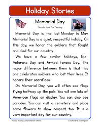 memorial day reading comprehension worksheet