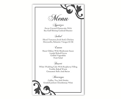 editable menu template wedding menu template diy menu card template editable text word
