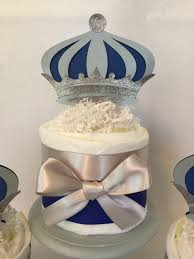 set of 3 prince mini diaper cakes in royal blue and silver prince