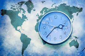 World Map With Time Zones Abstract Business Background World Map With Wall Clock Stock