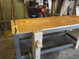 furniture beige craftsman workbench with gray wood frame on
