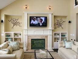 family room wall decor white furniture built in fireplace brown