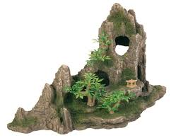 direct pets fish rock formation with cave plants 27 cm