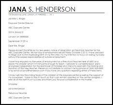 daycare resignation letter resignation letters livecareer