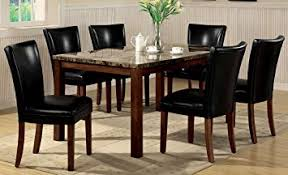 Dining Chair Cherry Amazon Com 7pc Dining Table U0026 Parson Chairs Set Black Leather