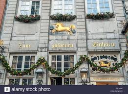 christmas decorations on the golden unicorn restaurant in aachen
