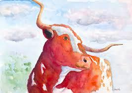 texas longhorn print original cow painting longhorn painting