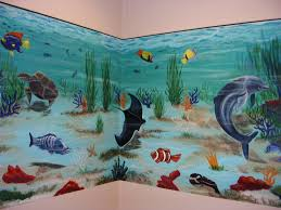 beautiful undersea turtle swimming wallpaper murals in kids murals aquarium wall paint mural paintings