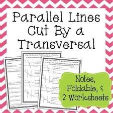 parallel lines cut by a transversal notes and worksheets 8th