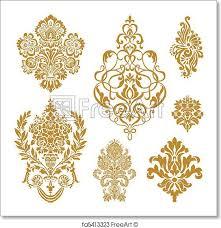 free print of vector gold damask ornament set set of ornate