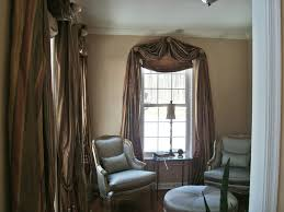 Large Window Curtains by White Stained Wooden Frame Glass Window Using Brown Metallic