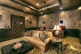 Faux Leather Paint - leather paint technique home theater mediterranean with tufted
