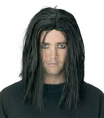 halloween costume wigs gothic long black sinister wig punk grunge halloween costume men