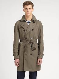 burberry brit double breasted trench coat in gray for men lyst