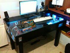 desk with built in pc gaming desk desks and tech