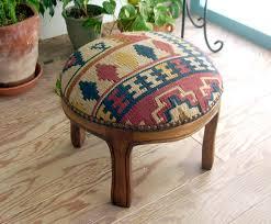 hizhali rug store ottoman puff round covered with kilim