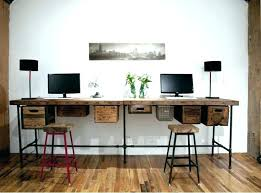 long desk for 2 two person desk diy two person computer desk reclaimed wood long