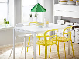 Dining Chairs Ikea by Melltorp White Table Seats 4 With Reidar Yellow Aluminium Chairs
