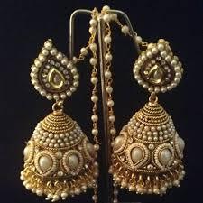 fancy jhumka earrings bridal heavy ethnic big pearl kundan jhumka india earrings