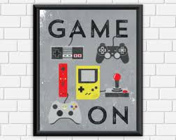 Gamer Home Decor Video Gamer Art Print Xbox One Game Controllers Poster Man
