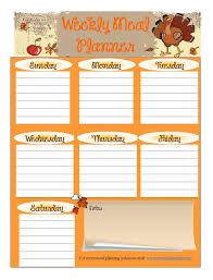free printable meal planners thanksgiving free
