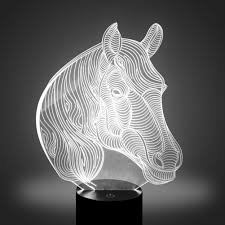 horse 3d optical led illusion lamp ykl world 7 color change touch