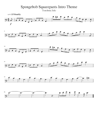 spongebob squarepants intro theme trombone solo musescore
