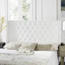 london white tufted winged headboard flat nail heads headboards