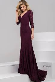 burgundy long fitted three quarter sleeve lace dress with v neck