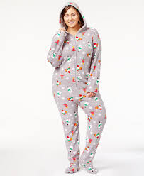 family pajamas plus size printed footed pajamas created