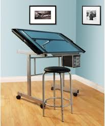 Drafting Table Set Art Drafting Table Set 2 Piece Tempered Glass Desk Stool Cushion