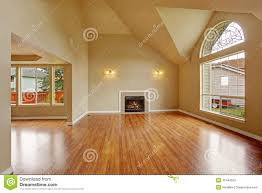 House With High Ceilings Empty Living Room With High Ceiling And Big Arch Window Stock