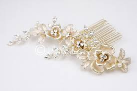 bridal hair comb light gold bridal hair comb with pearls lynne